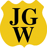 A gold shield logo for Jackson Glass Works
