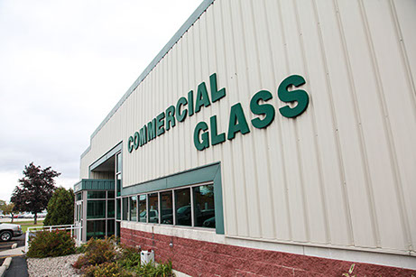 A photograph of the Commercial Glass division of Jackson Glass works